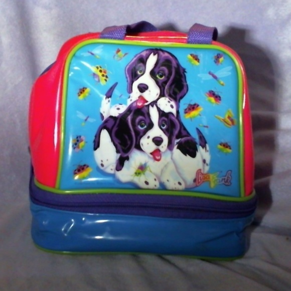 Lisa Frank Lunch Bag Or Purse W Dogs Violet Velvet